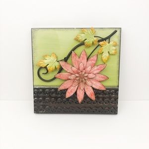 Metal floral pink flower green  brown wall picture